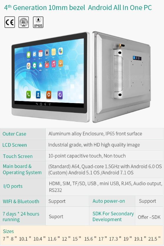 4th Generation 10mm bezel Android All In One PC